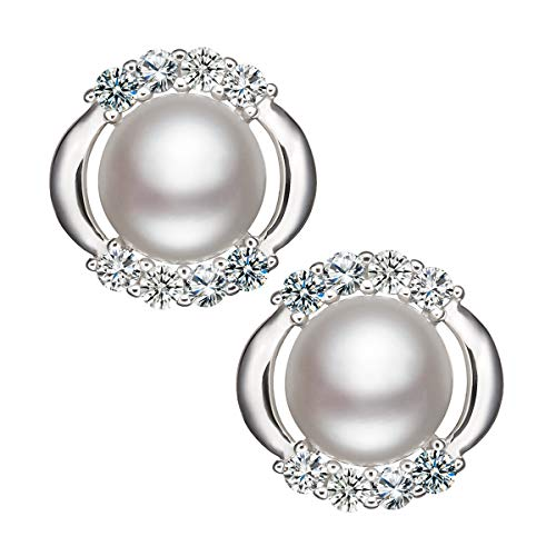 VOUCHON 925 Sterling Silver Natural Freshwater Cultured Cubic Zirconia Pearl Stud Earrings - AAAA Quality