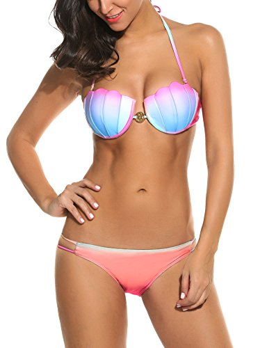 f590a40ea6d Avidlove Women Sexy Bikini Set Print Swimwear Gradient Color Mermaid Style  Underwire Swimsuit with Pad