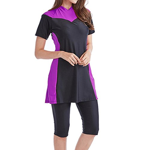 Longay Muslim Women Modest Swimwear Islamic Short Sleeve Top& Pants Swimwear Swimsuit (XXXXL, Purple) by Longay