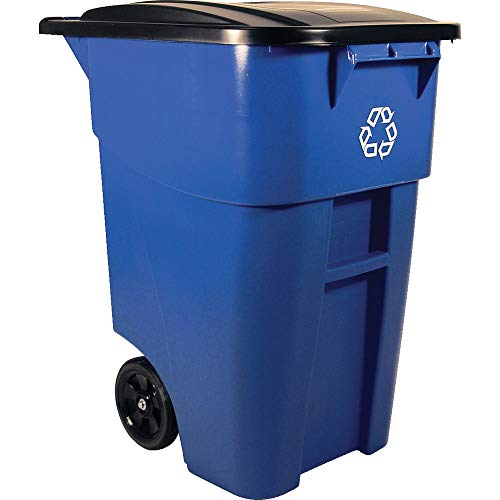 Rubbermaid Commercial Products FG9W2773BLUE BRUTE Rollout Heavy-Duty Wheeled Recycling Can/Bin, 50-Gallon, Blue -