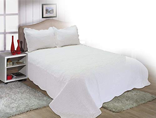 ALL FOR YOU 3-Piece Reversible Embroidered 100% Cotton Quilt Set -White Color (Larger King with King Size Pillow Shams, California King)