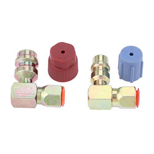 R12 to R134a High/Low AC Fitting Port Retrofit Conversion Adapter, Quick Coupler Valve A/C 90 Degrees Fitting 3/8'' High Side 7/16'' Low Side R-12 to R-134a with 2pcs caps