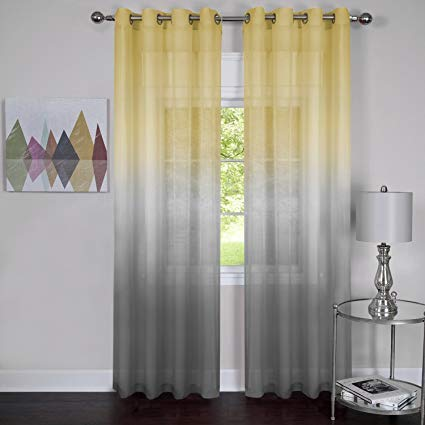 - Rainbows and Sunshine Set of 2 Ombre Sheer Window Curtain Panels (52
