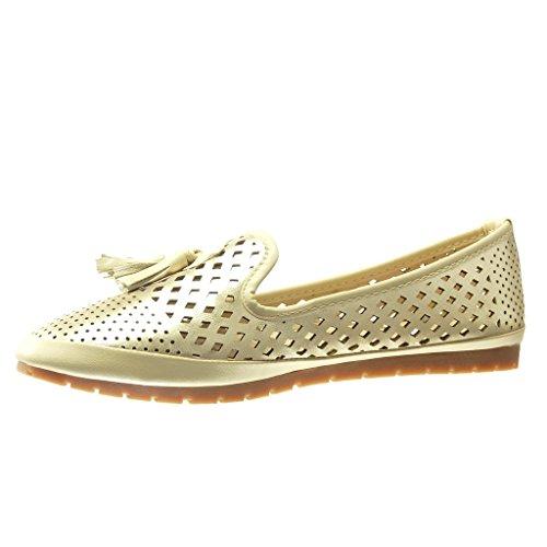 Angkorly - Chaussure Mode Mocassin slip-on femme perforée frange pom-pom Talon plat 2 CM - Or