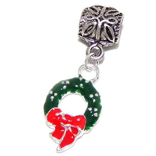 """Silver Plated Dangling """"Green Christmas Wreath with Red Bow"""" Bead Charm"""