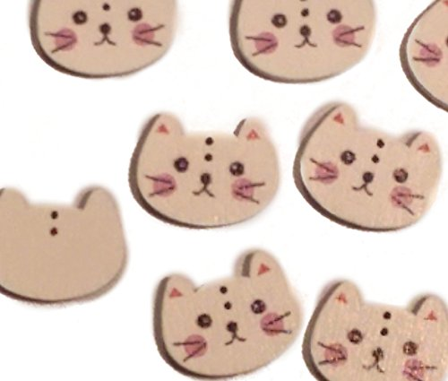 "Fancy & Decorative {15mm x 20mm w/ 2 Holes} 10 Pack Mix of Medium Size ""Flat"" Sewing & Craft Buttons Made of Genuine Wood w/ Cute Kitty Cat Face Shape (Cat Face Design)"