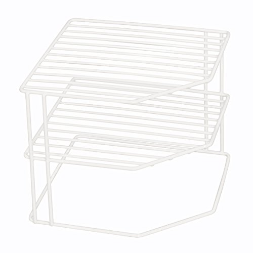 Smart Design 3-Tier Kitchen Corner Shelf Rack - Steel Wire Frame - Rust Resistant Finish - for Cups, Dishes, Cabinet & Pantry Organization - Kitchen (9 x 8 Inch) (White)