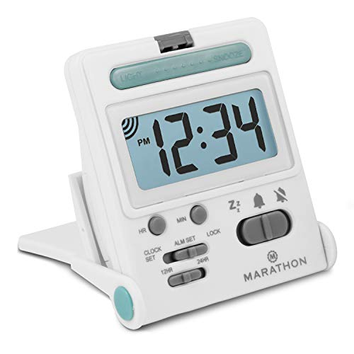 Marathon Basics CL030010WH Simple Travel Alarm Clock. Easy to Use. Easy to Set. Folds into One Compact Unit. Battery Included ()