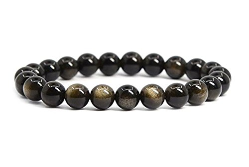 - Natural Golden Obsidian Gemstone Bracelet 7 inch Stretchy Chakra Gems Stones Healing Crystal Great Gifts (Unisex) GB8-24