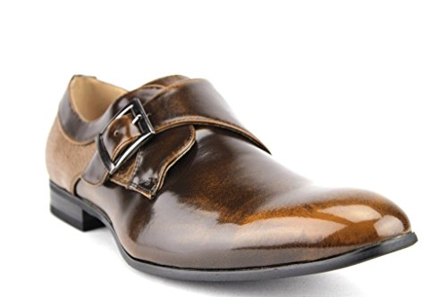 Majestic Men's 96505 Single Monkstrap Faux Snake Heel Texture Loafers Dress Shoes, Brown, 8.5