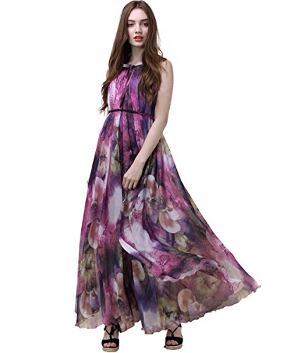 Medeshe Women's Chiffon Floral Holiday Beach Bridesmaid Maxi Dress Sundress (Large Tall, Purple Floral) -