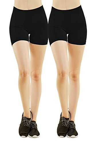 MOPAS Women's Ribbed Waistband Thigh Length Spandex Shorts (Pack of 2) (Black)