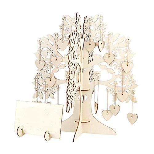 Silver Leaf Guest Book - Wedding Guest Book Tree, Wulofs♥ Wooden Hearts Pendant Drop Ornaments Party Decoration,Suit for Wedding Guest Book Tree/Bridal Shower Guest Book/Baby Shower for Sign in