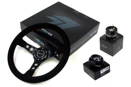 89-97 Nissan 240SX  NRG 350MM Suede Steering Wheel + Hub + Q