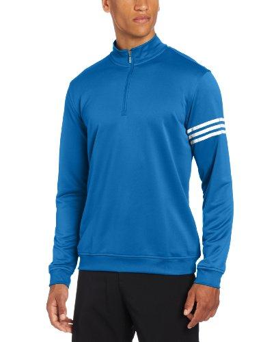 adidas Golf Men's Climalite Long Sleeve/Layering 3-Stripe Pullover, Ultramarine/White, Small