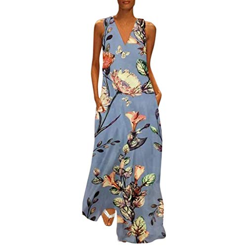Women's Vintage  Bohemian Floral Sleeveless V-Neck Dress Feather Print Maxi Long Dress