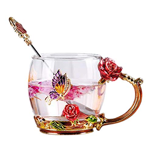 Tebery Clear Glass Tea Cup Coffee Mug Cups with Spoon Handmade Butterfly Rose Perfect Gift for Mother's Day ()