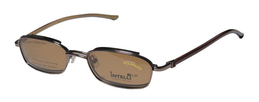 Elite Fashionable Eyewear 746 Mens/Womens Designer Full-rim Sunglass Lens Clip-Ons Spring Hinges Eyeglasses/Glasses (51-19-135, Light Brown)