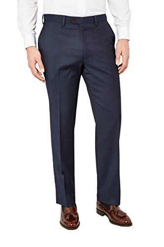 next Homme Costume en laine italienne : Pantalon Bleu Marine 36 / XL - Regular Fit