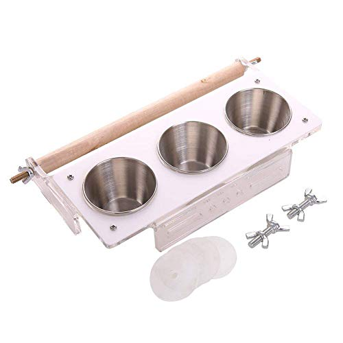 MANGO. Bird Feeding - 3Cups Holder Bird Feeding Parrots Playgym Seed Food Water Dish,Play Stand Hanging Stainless Steel Perches Coop Bowls Feeder - by GTIN - 1 Pcs