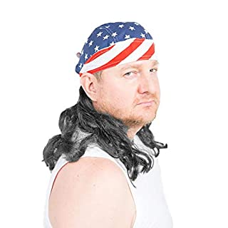 The Freebird Mullet Wig Skull Cap Red, White, Blue, Black Hair One Size Fits Most