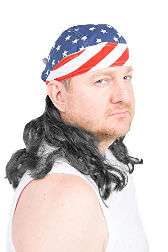 Crazy Costumes Ideas (The Freebird Mullet Wig Skull Cap Red, White, Blue, Black Hair One Size Fits)