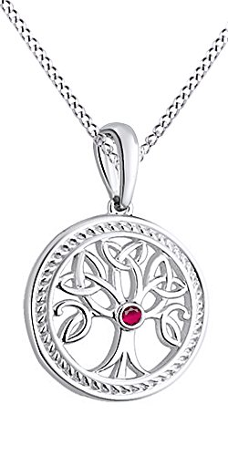 Jewel Zone US Tree of Life Pendant Necklace with Simulated Ruby Gemstone 14k White Gold Over Sterling (Gemstone Ruby Necklace)
