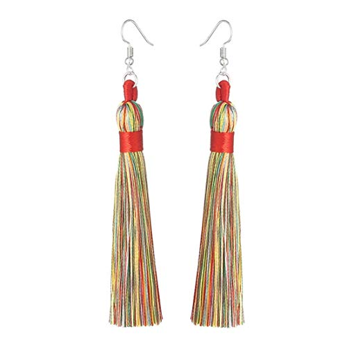 Charms Boho Silk Thread Long Tassel Dangle Drop Fringe Earrings Fabric Vintage Eardrop (Multi Color)