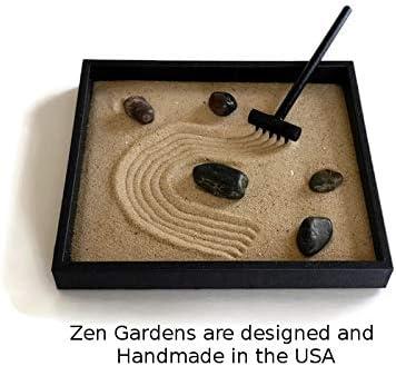 Zen Garden Black Handmade Kit Indoor Mini Sand Garden Relaxation Gift