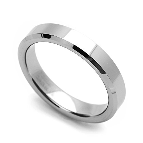 4MM Comfort Fit Tungsten Carbide Wedding Band Beveled Edges Classic Flat Ring (5 to 12), 7