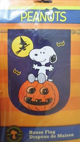 Peanuts Halloween Large Flag~Snoopy on Pumpkin & Witch Woodstock!~2015 Release]()