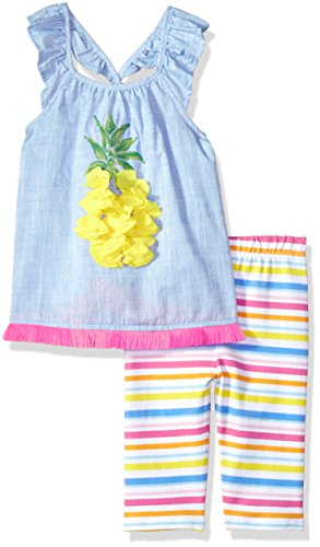 Mud Pie Baby Girls Pineapple Flutter Sleeve Tunic and Capri Two Piece Play Set, Blue, 4T