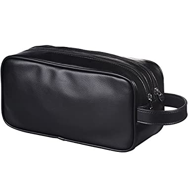 HappyDavid Leather Zipped Travel Toiletry Bag Mens Ladies Supply Toiletry Bag Case(black)