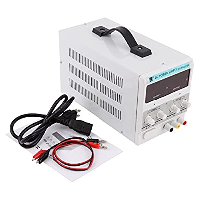 Iglobalbuy 110V AC 30V 10A DC Power Supply Precision Variable Digital Adjustable Clip Cable Display and Test Line