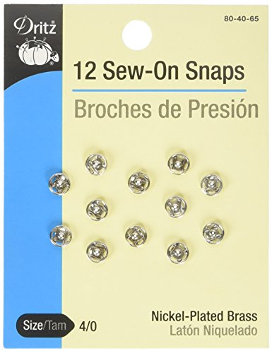 - Dritz 80-40-65 Sew-On Snaps, Nickel-Plated Brass, Size 4/0 12-Count