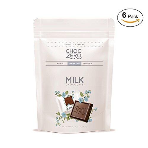 ChocZero Premium Milk Chocolate, 45% Cocoa, No Sugar Added, Low Carb. No Sugar Alcohol, All Natural, Non-GMO - (6 Bags, 60 Pieces)