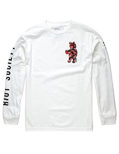 RIOT SOCIETY Floral Bear Mens T-Shirt, White, Medium (Society Clothing)