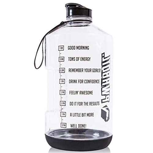 PWRBOTL 1 Gallon Water Bottle with Time Marker and Silicone Bottom for Ultimate Drop Protection | BPA Free | Leakproof Flip Top | Drink More Water from This Large Water Bottle/Gallon Water Jug!