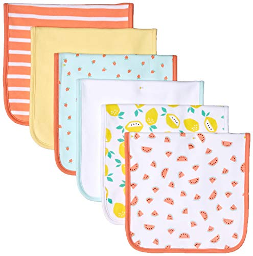 - Amazon Essentials Baby 6-Pack Burp Cloth, Girl Fruit, One Size