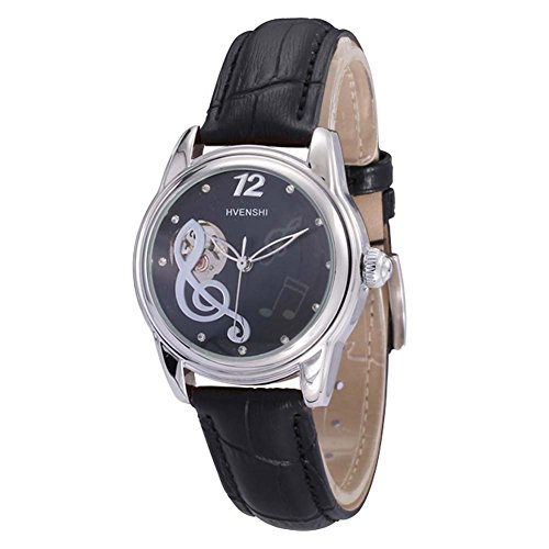 2a1a10af1d81 HVENSHI Casual Women Black Leather Automatic Mechanical Watch with Music  Symbol