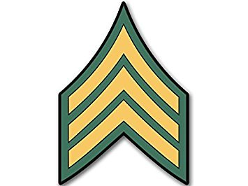 MAGNET US Army Rank SERGEANT Chevron Shaped Magnet(military decal) 4 x 4 inch