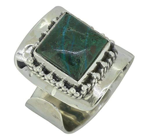 (YoTreasure Chrysocolla Ring Solid 925 Sterling Silver Gemstone Jewelry)