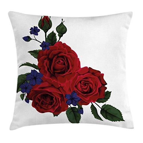 Ambesonne Rose Throw Pillow Cushion Cover, Blooming Red Roses with Gentle Wild Flowers Leaves Bouquet Corsage, Decorative Square Accent Pillow Case, 20
