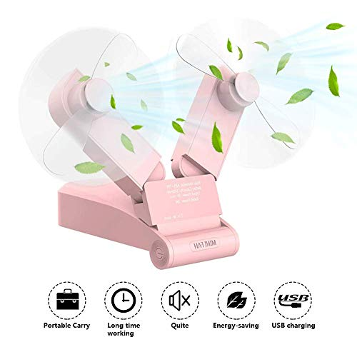 JYSW Mini Handheld Fan, Pocket Fan, Personal Portable USB Rechargeable Battery Fan, Small Dual Head Enhanced Airflow and Lower Noise Foldable Desk Fan for Home Office Traveling Or Hiking (Pink)