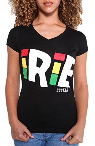 Cooyah Women Adult & Youth Casual Short Sleeves Rasta Graphic T-Shirt, Vintage Jamaican Reggae Lion Face, and Bob Marley Inspired V Neck Rastafarian Weed Print Tee Shirts