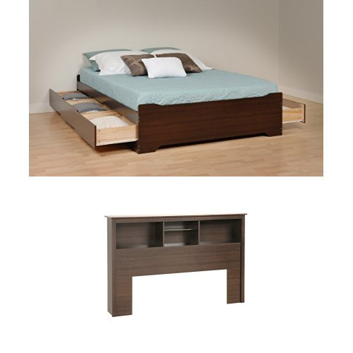 Prepac Fremont Queen Bed and Headboard - Espresso