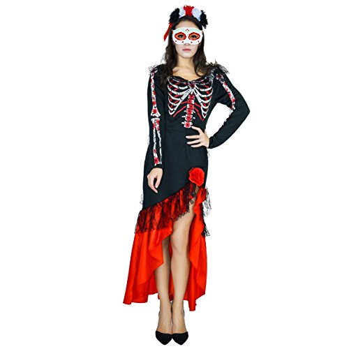 Women's Day of Dead Senorita Costume(S,M,L) (M)