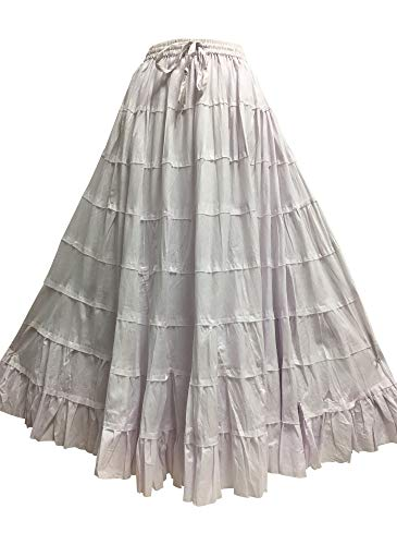 Yoga Trendz Missy Plus Bohemian Gauze Cotton Tiered Crinkled Broomstick Long Skirt Ombre (Solid White)