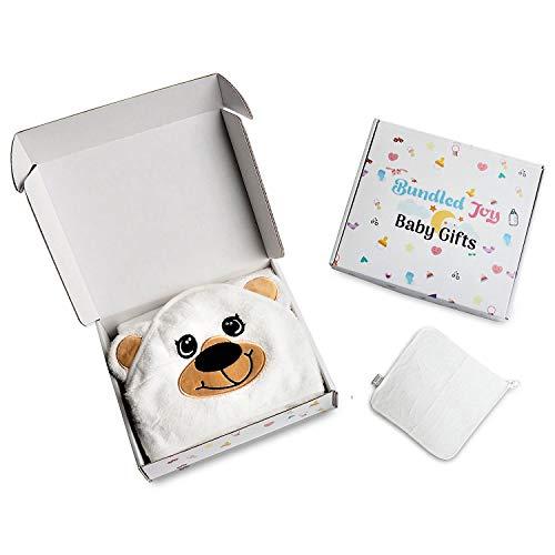 Bundled Joy Baby Gifts - Premium 100% Bamboo Hooded Baby Bath Towel and Washcloths Set Boys Girls Unisex Newborn to Toddler Super Soft Plush Bear White ()