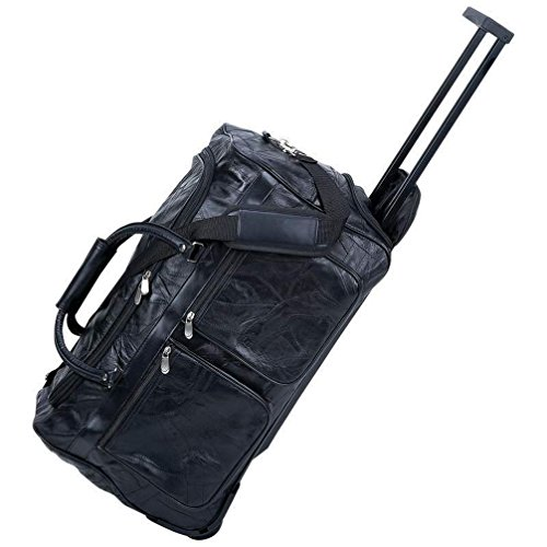 Dancing Stone Black 21'' Leather Rolling Duffle Bag Trolley Wheeled Suitcase Luggage ()